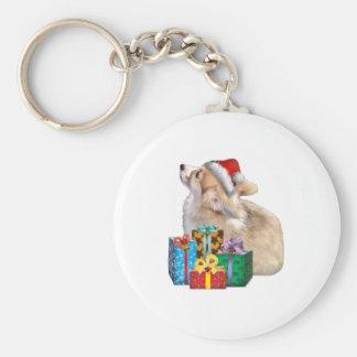 Walisercorgi-Welpe mit Weihnachtsmannmütze Schlüsselanhänger