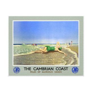 Walisische Küsten-Vintages Reise-Plakat Englands Leinwanddruck