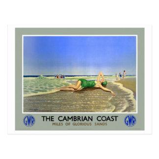 Walisische Küsten-Vintages Reise-Plakat Englands Postkarte