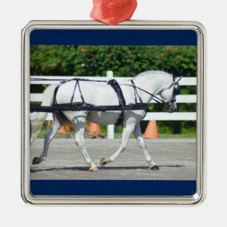 Walnuss-Hügel-Wagen, der Show 2015 fährt Quadratisches Silberfarbenes Ornament