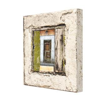 Wand, Fenster und Tür Leinwanddruck