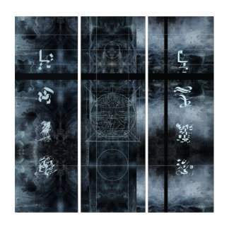 Wand-Kunst-merkwürdige Symbol-abstraktes Triptychon