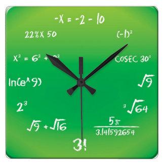 Wand-Uhr - Mathe-Pop-Quiz-Uhr Quadratische Wanduhr