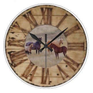 Wand-Uhr-Pferde-und Fohlen-Western-rustikale Uhr