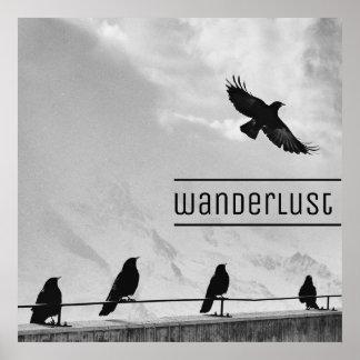 """Wanderlust-Reise-Vögel 24"""""""" Plakat x24 (Matt)"""