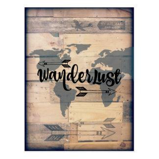Wanderlust-rustikale hölzerne Reise-Postkarte Postkarte