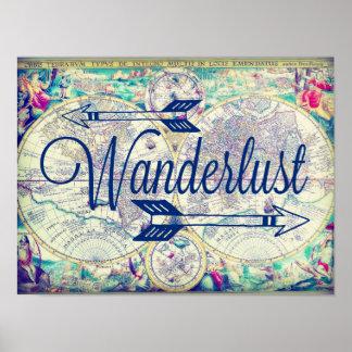 Wanderlust-Vintage Karten-Reise-Plakat-Wand-Kunst Poster