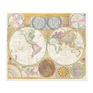 Wandkarte Samuel Dunn der Welt in den Hemisphären Gespannter Galeriedruck