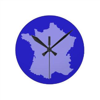 Wanduhr - Frankreich-Kartenentwurf Blau