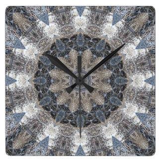 Wanduhr-Kaleidoskop-Mandala Chakra Fox 4 Quadratische Wanduhr