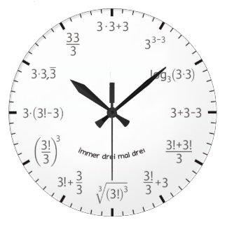 Wanduhr Mathe Uhr 3 x 3 Drei mal Drei