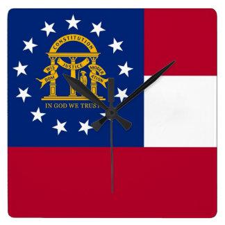 Wanduhr mit Flagge von Georgia, USA