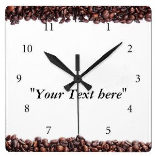 Wanduhr mit Kaffeebohnen Motiv und Textfeld