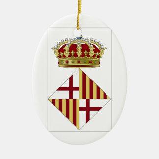 Wappen Barcelonas (Spanien) Ovales Keramik Ornament