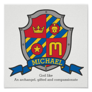 Wappenplakat der Namensbedeutung Michael-Jungen M Poster
