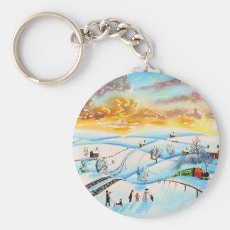 warme Winterhimmel-Landschaftsmalerei Gordon Bruce Schlüsselanhänger