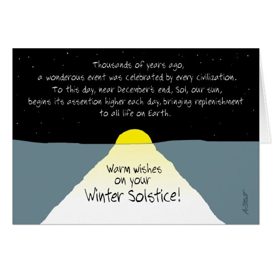 Wärmen Sie Wünsche auf Ihrer Winter-Sonnenwende! Grußkarte