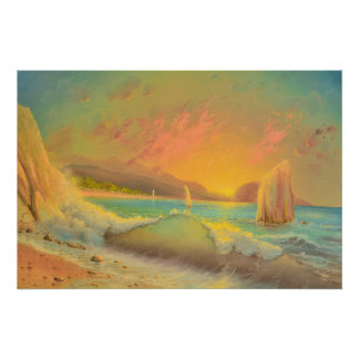 Warmer Sonnenuntergang auf dem Strand Poster