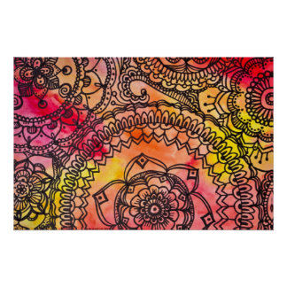 Warmes Mandala-Collagen-Plakat durch Megaflora Poster