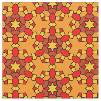Warmes rotes orange Gelb-Hexagon-geometrisches Stoff