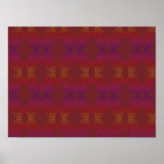 Warmes und Reich-Farbpaisley-Muster-A3 Plakat