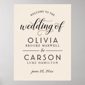 Warmes Weiß des Hochzeits-Willkommensschild-| Poster