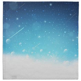 Warmes Winter-Märchenland mit Schneeflocken Serviette
