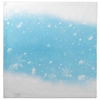 Warmes Winter-Märchenland mit Schneeflocken Stoffserviette