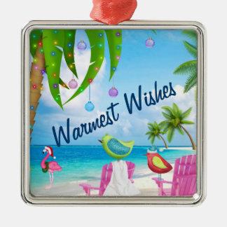 Wärmste Wünsche, Vögel, Palmen, Strand-Weihnachten Silbernes Ornament