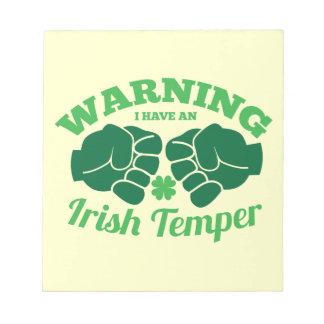 WARNEND habe ich ein irisches Temperament! von den Notizblock