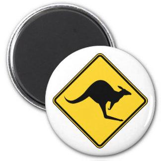 warnende Gefahr des Kängurus an Australien-Tag Runder Magnet 5,1 Cm