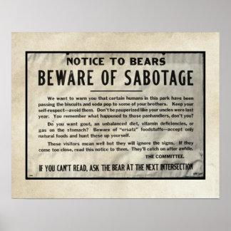 Warnende Mitteilungs-Park Yellowstone trägt Spaß Poster
