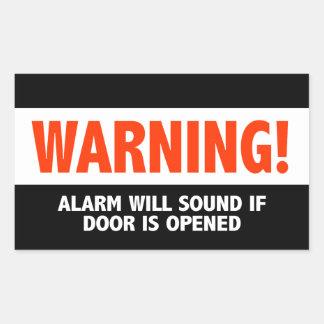 Warnende Warnung klingt, wenn Tür geöffnet ist Rechteckiger Aufkleber