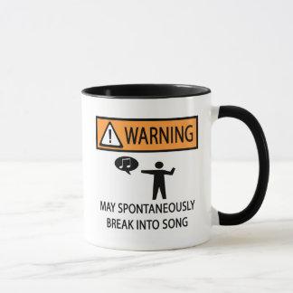 Warnender spontaner Sänger Tasse