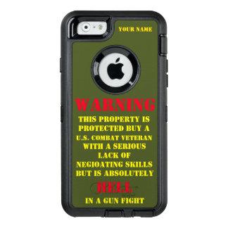 WARNING: DIESES EIGENTUM WIRD VON EINEM VETERAN OtterBox iPhone 6/6S HÜLLE