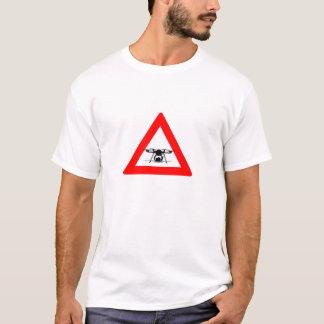 WARNING DROHNE-FLIEGEN-ZONE Weiß T-Shirt
