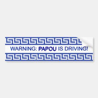Warnung: Papou fährt! Autoaufkleber