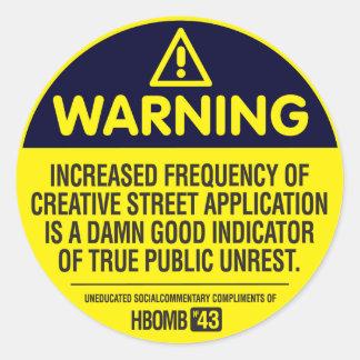Warnung Runder Aufkleber