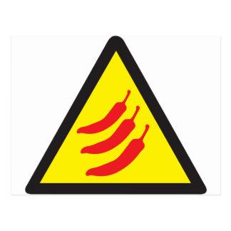 Warnzeichen des heiße Paprika-Pfeffer-drei Postkarte