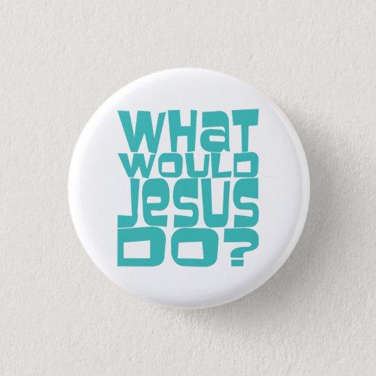 Was Jesus WWJD aquamarines christliches Runder Button 3,2 Cm