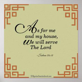 Was mich und mein Haus… Bibel-Zitat-Gebet Poster