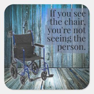 Was sehen Sie? Rollstuhl Quadratischer Aufkleber