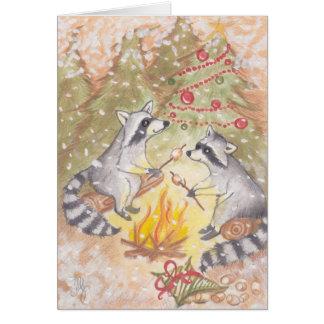 Waschbären, die Eibisch-Feiertags-Karte braten Karte
