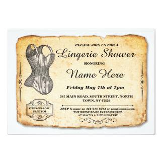 Wäsche-Brautparty-Party-Vintages Korsett laden ein 12,7 X 17,8 Cm Einladungskarte