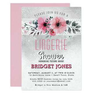 Wäsche-Brautparty-Rosawatercolor-Blumenspitze 12,7 X 17,8 Cm Einladungskarte