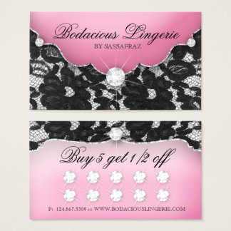 Wäsche-Loyalitäts-Karten-Spitze-Rosa-Schmuck Visitenkarte