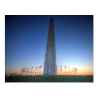 Washington-Monument mit orange Sonnenuntergang Postkarte