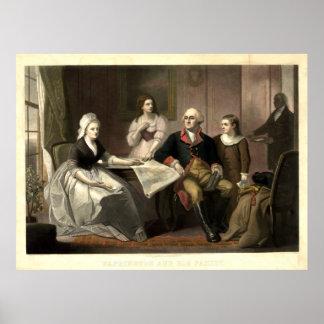 Washington u. sein FamilieMezzotint durch C. Poster
