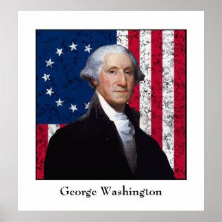 Washington und die US-Flagge Poster