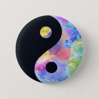 Wasser-FarbeYin Yang Knopf Runder Button 5,7 Cm